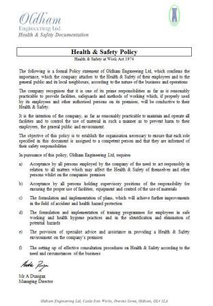 Health saftey oldham engineering health safety policy wajeb Gallery